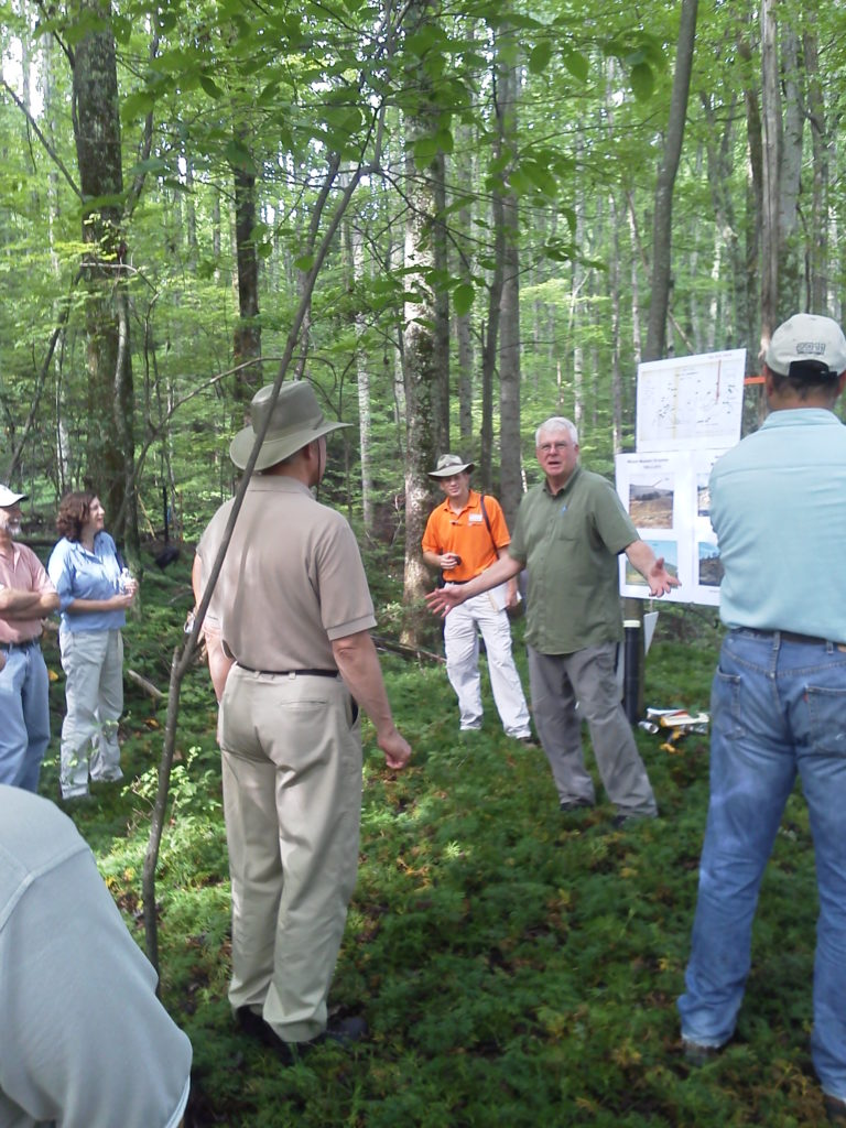 Richard Evans discussing past mining operationas on the UT Cumberland Forest