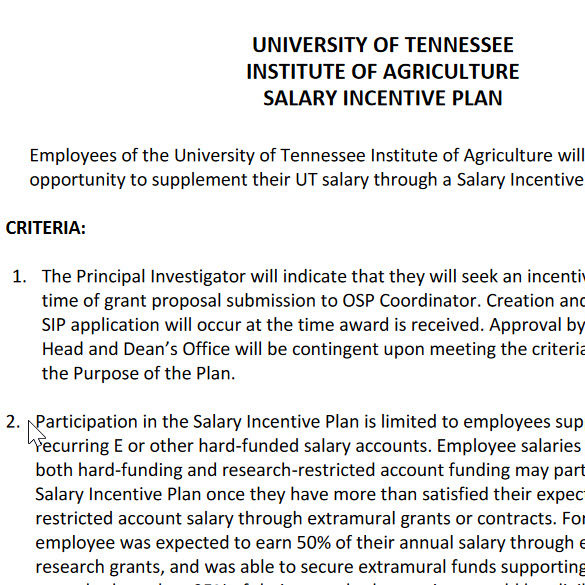 Salary Incentive Plan document