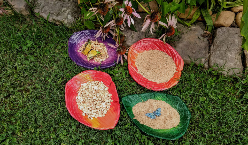 Photo of bright concrete butterfly puddlers in different colors