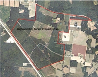Aerial image and map of Highland Rim Forest Unit